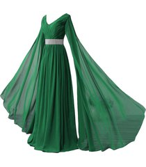 kivary v neck long sleeves chiffon goddess prom vintage evening dresses green us