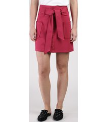saia feminina curta com bolsos e faixa para amarrar vermelha