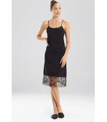 natori infinity lace trim slip bodysuit, women's, black, size l natori