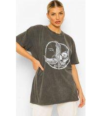 acid wash gebleekt t-shirt met schedel, duiven en prikkeldraad, charcoal