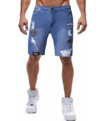 hombres moda casual bordado ripped jeans shorts