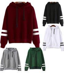 five color for u women's long sleeve hoodie sweatshirt jumper hooded pullover