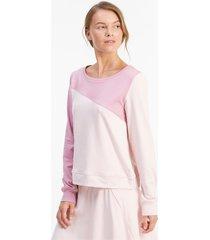 cloudspun colour block crew neck golfsweater voor dames, roze, maat m | puma