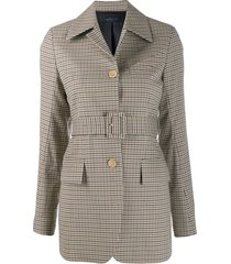 eudon choi plaid belted jacket - brown
