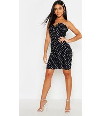 bandeau polka dot ruched bodycon mini dress