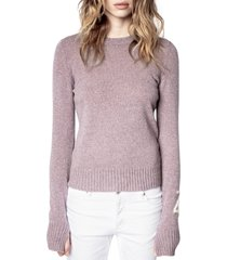 women's zadig & voltaire source women's recycled cashmere sweater, size medium - purple