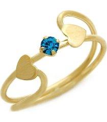 anel dois corações horus import strass azul banhado ouro amarelo