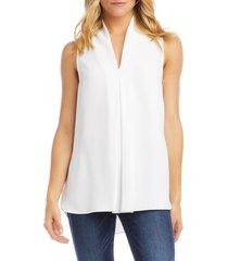 women's karen kane front pleat sleeveless crepe blouse, size x-small - white