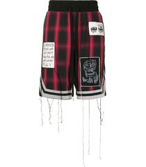 haculla patch-detail plaid shorts - red