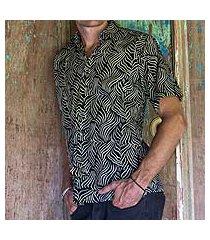 men's cotton batik shirt, 'bedeg' (indonesia)