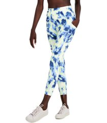 ideology tie-dyed pocket 7/8 length leggings, created for macy's