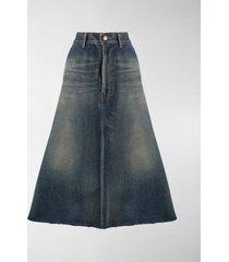 balenciaga a-line denim skirt