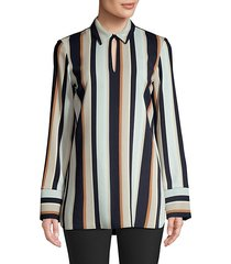 agatha striped keyhole blouse