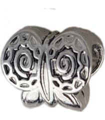 berloque papillô joias borboleta texturizada rodio branco prata