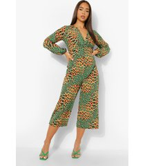 luipaardprint wide leg jumpsuit, green