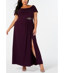 alex evenings plus size cowl-neck a-line gown