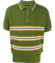 stussy chunky knit striped polo shirt - green