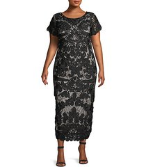 plus soutache lace midi dress