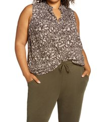 plus size women's treasure & bond sleeveless pleated top, size 2x - brown