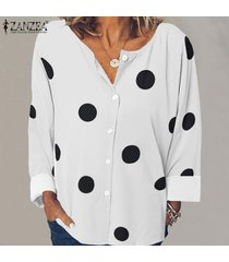 zanzea mujer polka dot manga larga cuello redondo botones tops camisa blusa tallas grandes -blanco