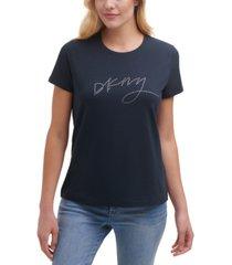 dkny rhinestone graphic t-shirt