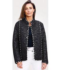 doorgestikte jas mona zwart::wit