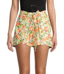 bcbgeneration women's fruit-print layered shorts - white multicolor - size xl
