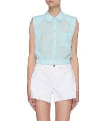 'arielle' padded shoulder crop sleeveless shirt