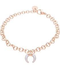 bracciale lunula in acciaio rosato e strass per donna