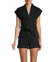 rta women's denim tie-waist romper - black - size s