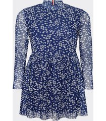 vestido floral printed azul tommy jeans