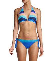 sea scape sunrise striped bikini
