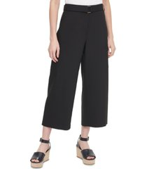 calvin klein belted wide-leg cropped pants