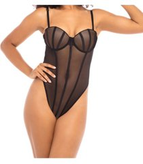 women's mesh high leg teddy with elastic detail and contrasting molded cups with removable shoulder straps