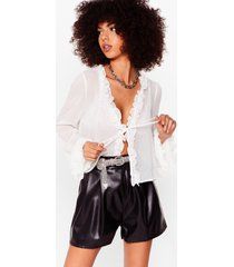womens sheer us out ruffle tie blouse - white