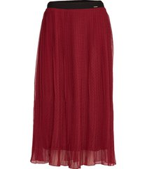 pleated midi skirt knälång kjol röd superdry