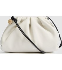 reiss ellena - leather pouch clutch bag in off white, womens
