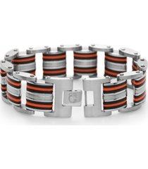 men's black & orange resin link bracelet in stainless steel
