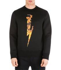 neil barrett flame thunderbolt sweatshirt