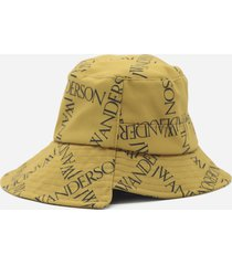 j.w. anderson asymmetric bucket hat with all-over contrasting logo print