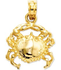 14k gold charm, crab charm