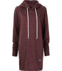 rick owens drkshdw oversized longline hoodie - red