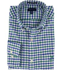 geruit overhemd gant regular fit blauw groen