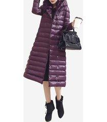 donna casual cappotto in piumino con cappuccio in colore a tinta unita a maniche lunghe