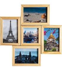 porta retrato em madeira multifoto cerejeira 5 fotos