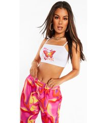 butterfly print strappy crop top, white