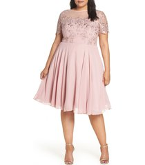 plus size women's chi chi london embroidered fit & flare cocktail dress, size 14w - pink