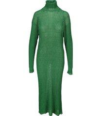 balenciaga green metallic-sheen long dress