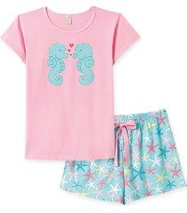 pijama pingo lelê manga curta com short cavalo marinho rosa/ verde