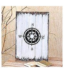 wood wall sign, 'guiding compass in white' (indonesia)